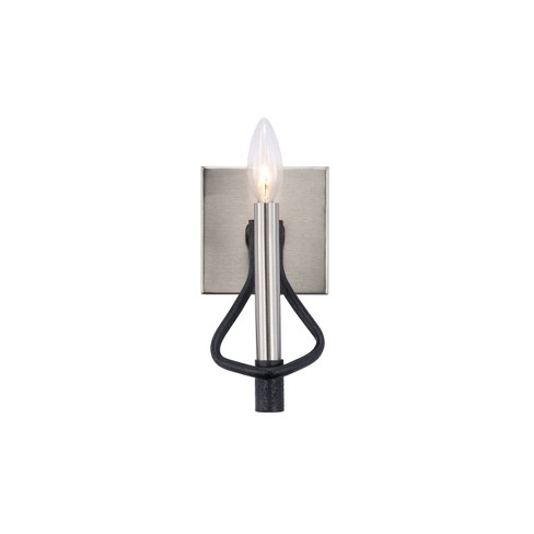 """Varaluz 8.5"""" H x 4.5"""" W To Circuit with Love 1 Bath Light Textured Black/Brushed Nickel - image 1 of 4"""