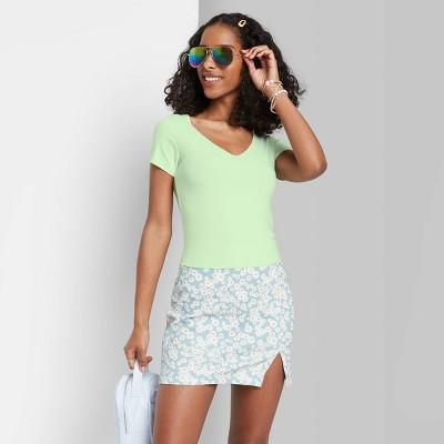 Women's Short Sleeve V-Neck Baby T-Shirt - Wild Fable™