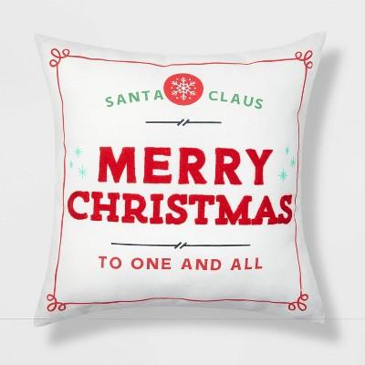 Merry Christmas Throw Pillow Reversible Red/White Stripes - Wondershop™