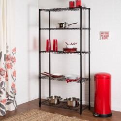 5 Tier Wire Shelving Unit 200lb per Shelf - Black
