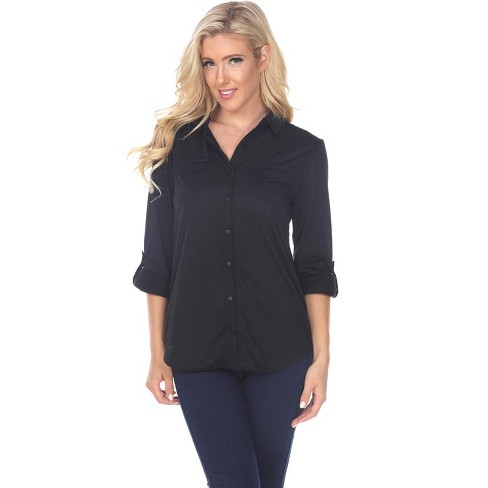 Women's Skylar Stretchy Button-Down Top - White Mark - image 1 of 3