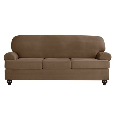 3pc Designer Suede Sofa Cushions Individual Slipcovers Taupe - Sure Fit