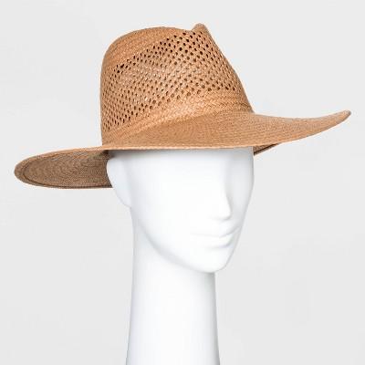 Women's Straw Wide Brim Fedora Hats - Universal Thread™ Brown One Size