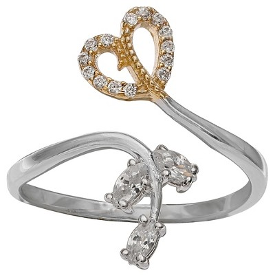 Women's Clear Cubic Zirconia Pave Heart and Vine Ring - Gray/Gold (Size 8)