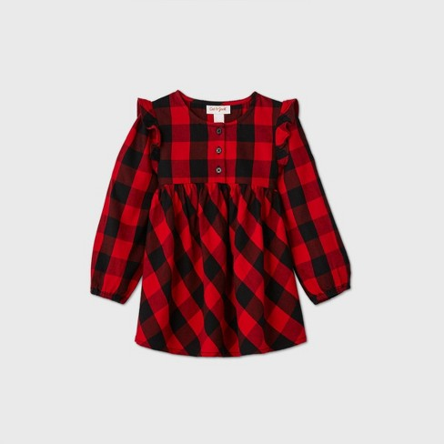 Toddler Girls' Plaid Long Sleeve Blouse - Cat & Jack™ Black/Red - image 1 of 2