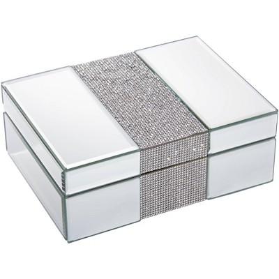 """Dahlia Studios Lyza Rhinestone 8 1/4"""" Wide Mirrored Jewelry Box"""