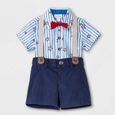 Baby Boys' Star Striped Top & Bottom Set - Cat & Jack™ Blue