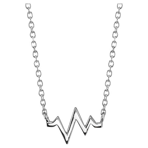 "Women's Sterling Silver Heartbeat Station Necklace - Silver (18.4"") - image 1 of 2"