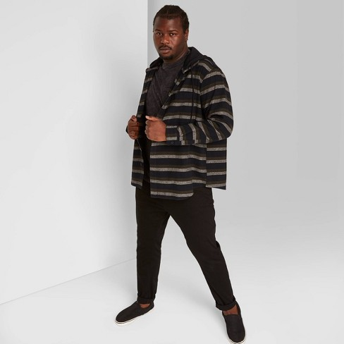 Men's Big & Tall Striped Long Sleeve Hooded Flannel Button-Down Shirt - Original Use™ - image 1 of 3