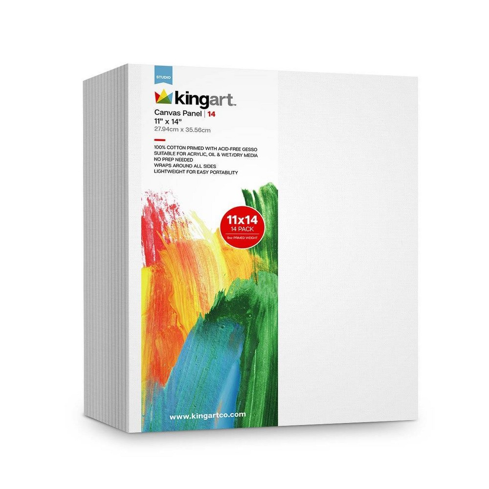 "Image of ""Kingart 11"""" x 14"""" 14pc Canvas Panel Board Value Pack, White"""
