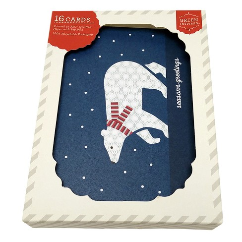 Green Inspired 16ct Holiday Boxed Cards Warm Polar Bear - image 1 of 2