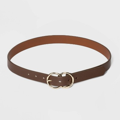 Women's Double Buckle Belt - A New Day™ Brown