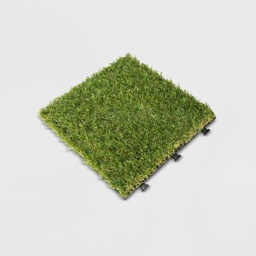 9pk Artificial Grass Deck Tile Set - Green - Courtyard Casual