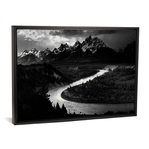 """40"""" x 26"""" The Tetons Snake River by Ansel Adams Framed Canvas Print Black - iCanvas - image 1 of 3"""