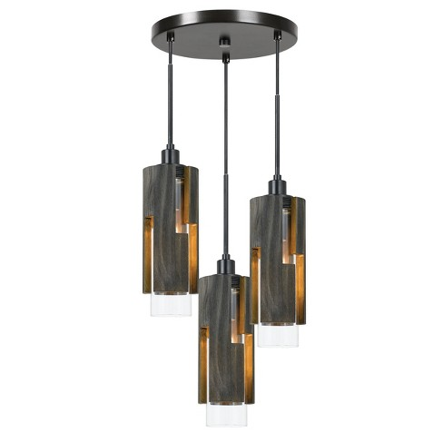 60W X 3 Reggio Wood Pendant Glass Fixture Ceiling Light (Edison Bulbs Not Included) - Cal Lighting - image 1 of 1