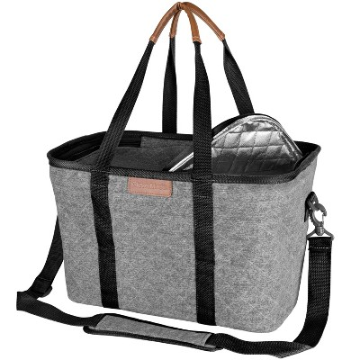 CleverMade SnapBasket LUXE Insulated Collapsible Grocery 32qt Cooler Tote Bag with Zippered Lid and Shoulder Strap - Gray/Black