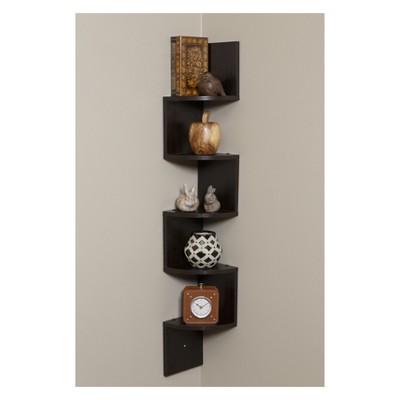 Decorative Wall Shelf Set Dark Walnut - OneSpace