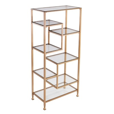 "68"" Jamel Metal Glass Asymmetrical Etagere Bookcase Gold - Aiden Lane"