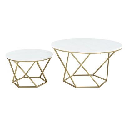 Geometric Nesting Coffee Tables White Marble/Gold - Saracina Home