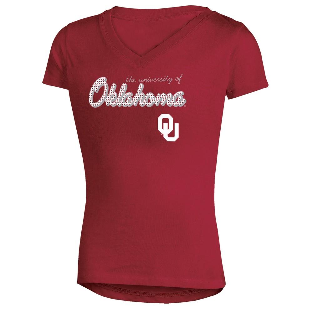 Oklahoma Sooners Girls' Short Sleeve Bright Lights V-Neck T-Shirt XL, Multicolored