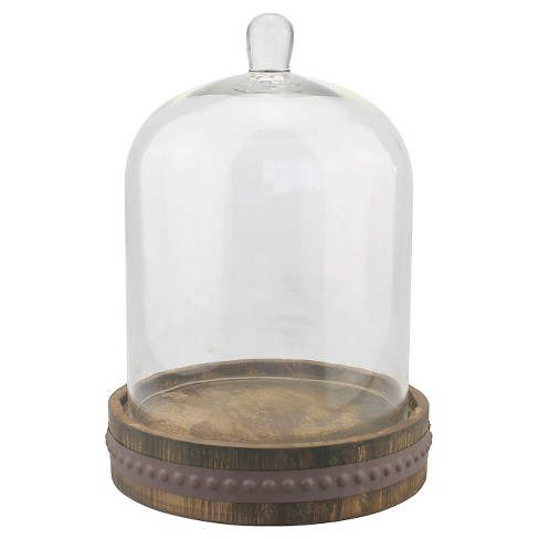 Stonebriar Glass Bell Cloche with Rustic Wood and Metal Base - Small - image 1 of 4