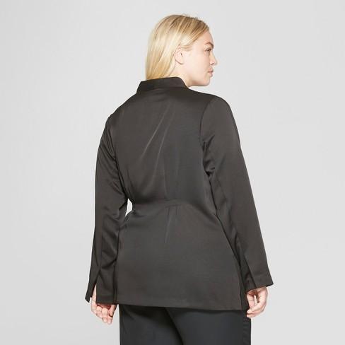 66f312ab0272e Women s Plus Size Wrap Jacket With Side Tie - Prologue™ Black   Target