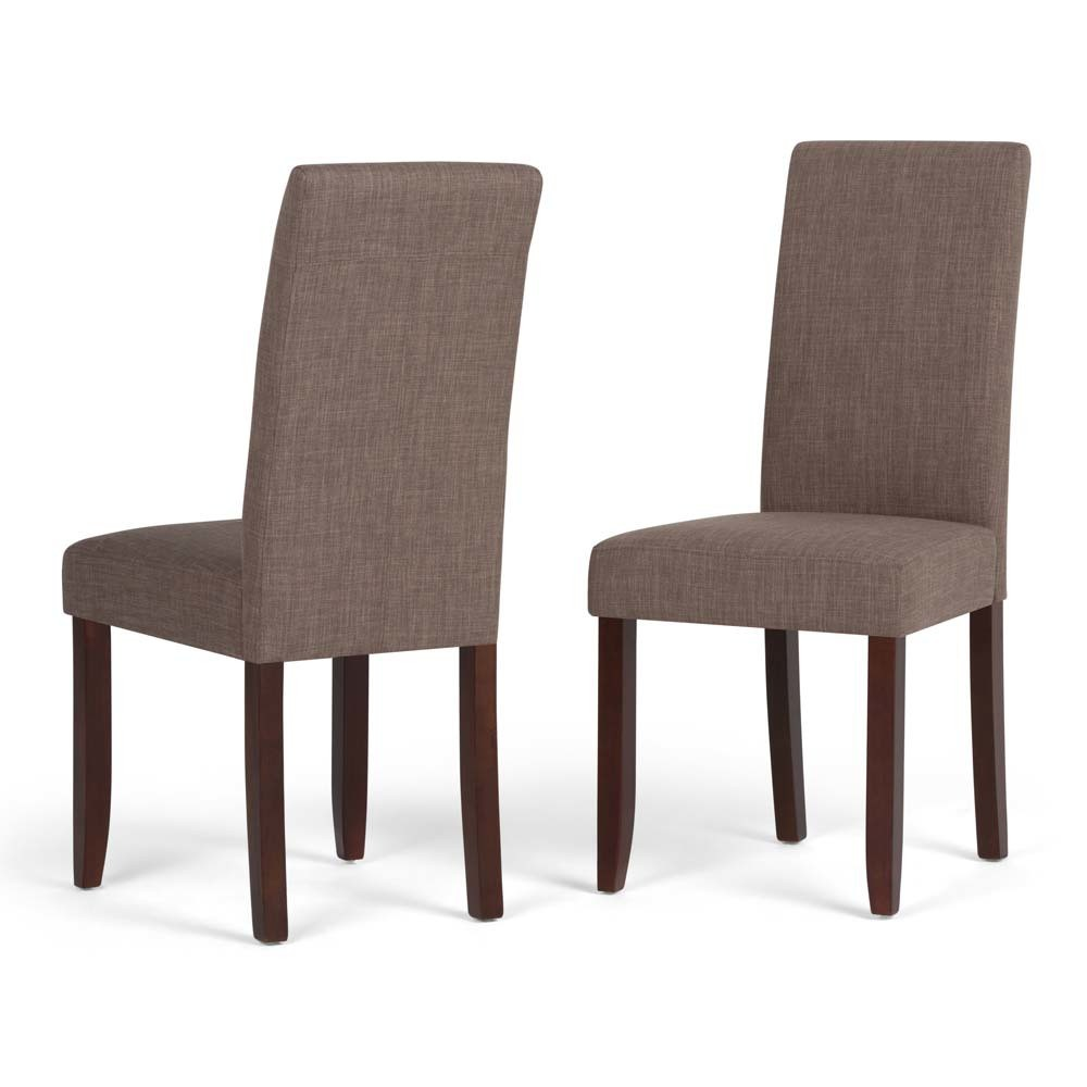 Normandy Parson Dining Chair Set of 2 Light Mocha (Brown) Linen Look Fabric - Wyndenhall