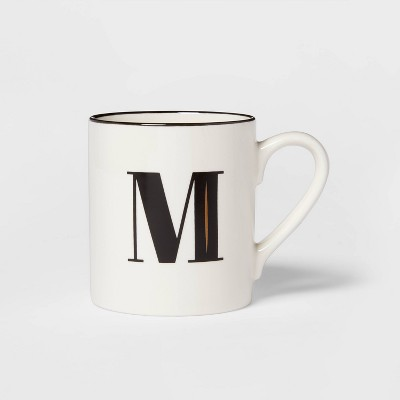 16oz Stoneware Monogram M Mug White - Threshold™