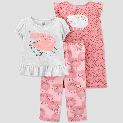Toddler Girls' 3pc Sheep Pajama Set - Just One You® made by carter's Pink 12M