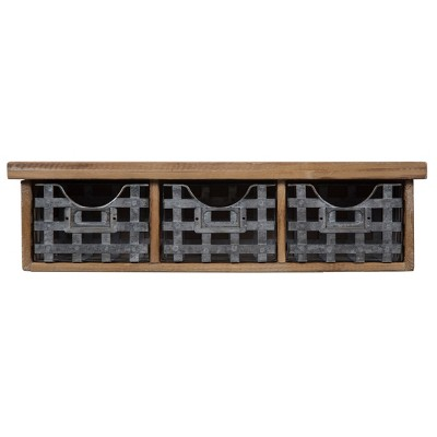 "21.1"" x 5.7"" Reclaimed Wood Wall Organizer with 3 Metal Basket Bins Brown - Gallery Solutions"