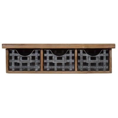Gallery Solutions 21.1 x5.7  Reclaimed Wood Wall Organizer with 3 Metal Basket Bins Brown