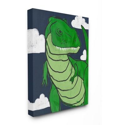 Stupell Industries T-Rex Kid's Illustration Green Dinosaur Blue Sky