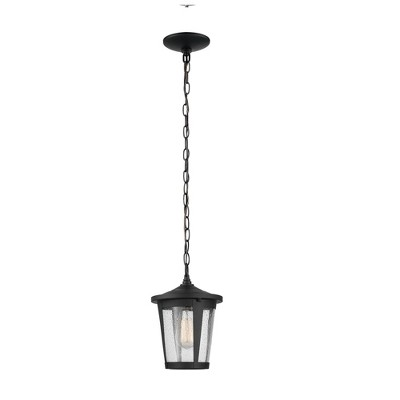 1 Light Augusta Outdoor Indoor Pendant Lighting with Seeded Glass Shade Matte Black - Globe Electric