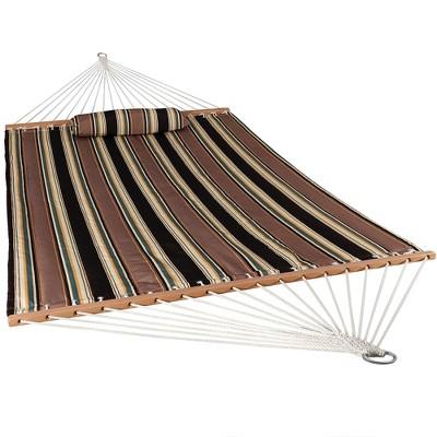 Sandy Beach Quilted Double Fabric Hammock - Brown Stripe - Sunnydaze Decor