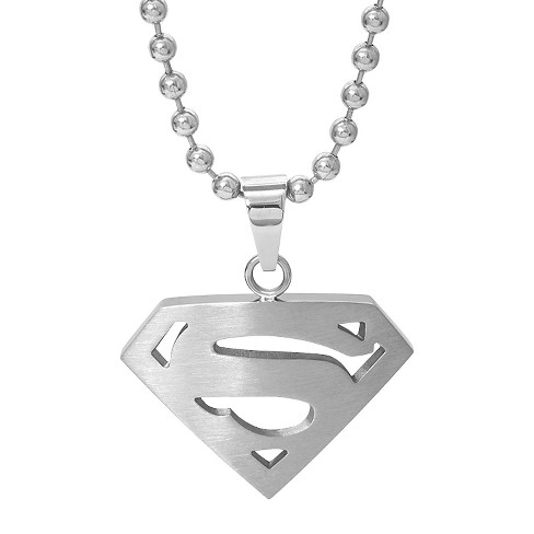 "Men's DC Comics® Superman Logo Necklace in Stainless Steel - Silver (22"") - image 1 of 1"