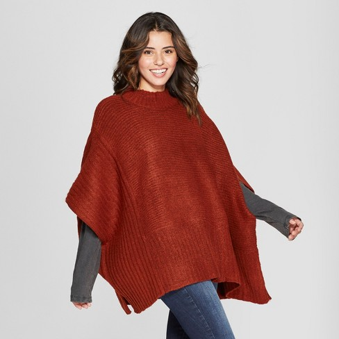 Women's Rib Mix Poncho Sweater - Universal Thread™ - image 1 of 2