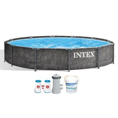 Intex 26749ST 12 Foot x 30 Inch Round Greywood Prism Steel Frame Premium Above Ground Pool Set w/ Filter Pump, Liner, & 3 Inch Chlorine Tabs, 10 lbs