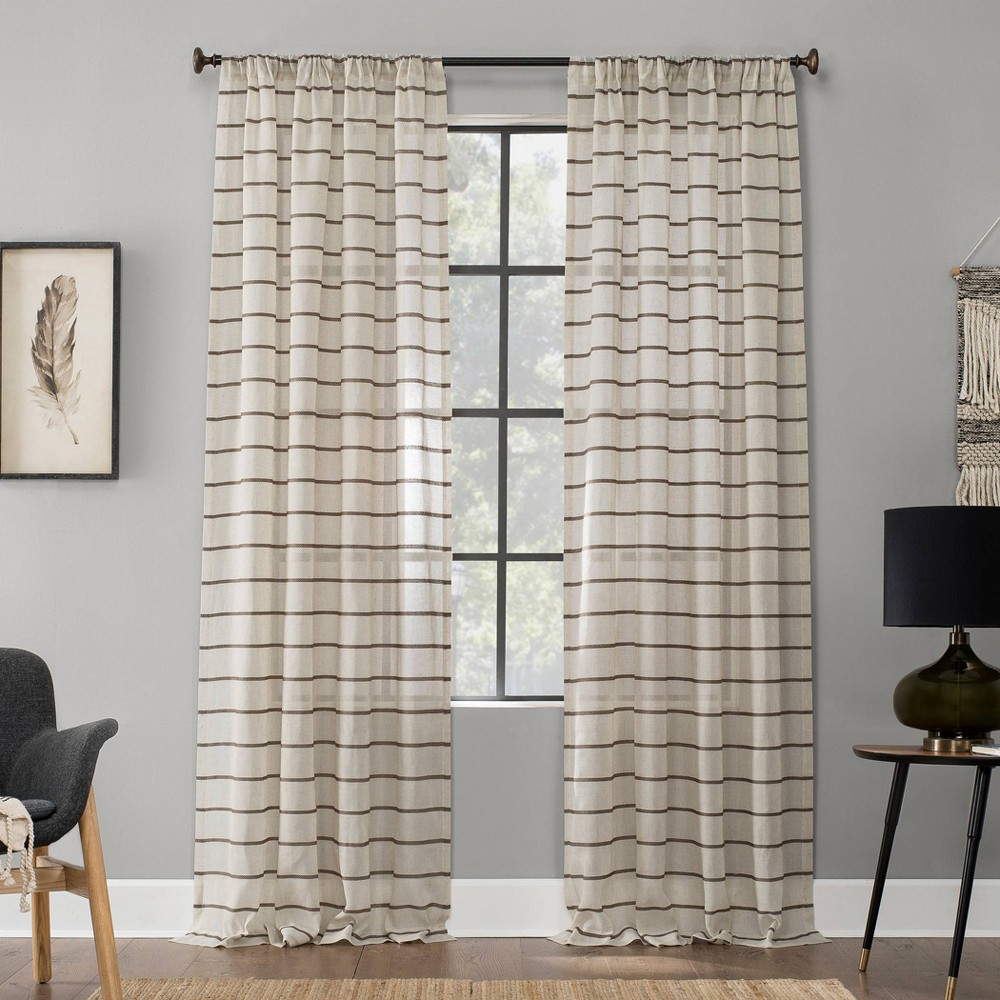 "Image of ""52""""x63"""" Twill Stripe Anti-Dust Sheer Curtain Panel Light Brown - Clean Window"""