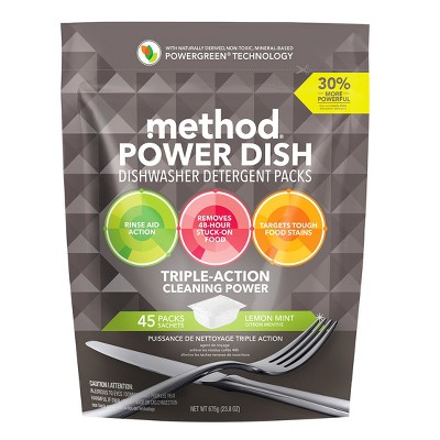 Method® Dishwasher Detergent Power Packets Lemon Mint - 45ct