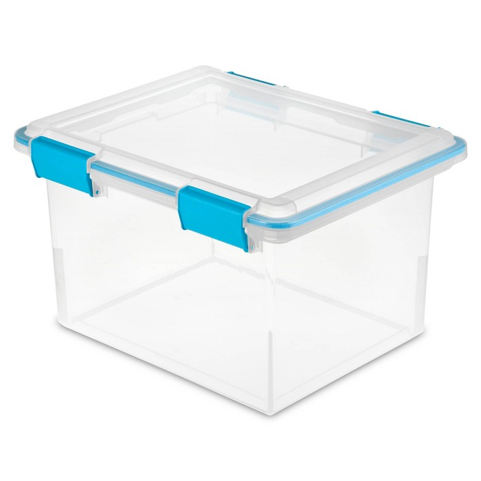 Sterilite 32qt Gasket Box Clear with Blue Latches - image 1 of 3