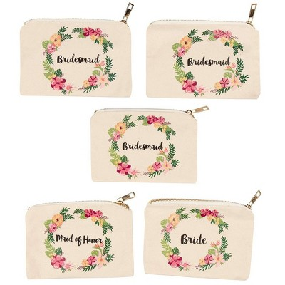 Juvale 5 Pack Canvas Comestic Makeup Bags, Bridal Shower Pouches for Bachelorette Party Gifts, Jewelry Storage Bags with Floral Design