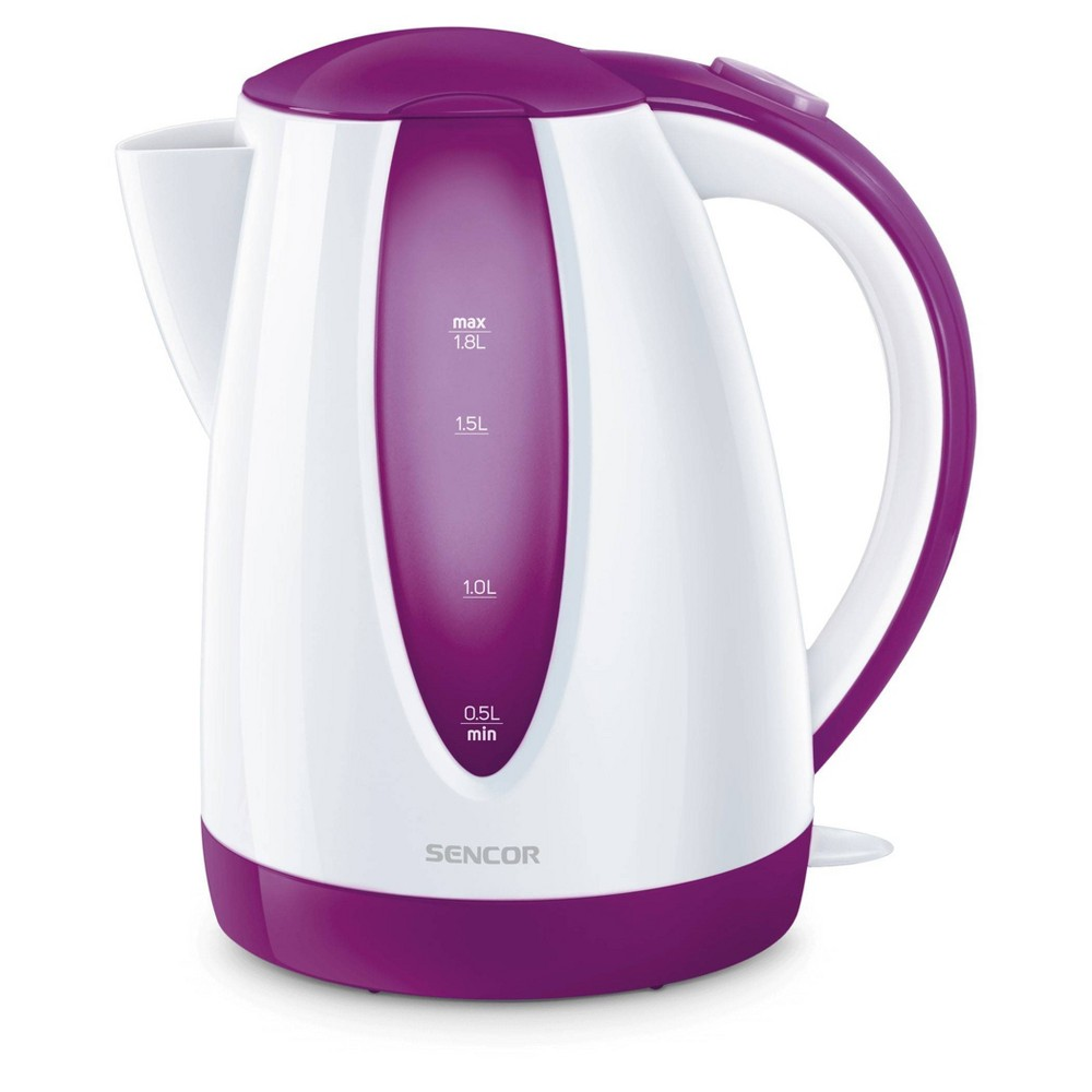 Sencor 1.8L Electric Kettle - Violet Cordless electric kettles by Sencor heats water twice as fast as stove top, offering better speed, convenience, energy efficiency and safety! This electric kettle comes with a 360 degree swivel and bright finish. Color-coordinate with other kitchen electrics by Sencor to create a beautiful kitchen with European design touch! Color: Violet. Gender: unisex.