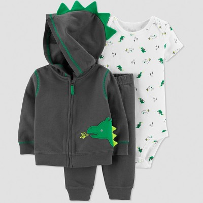 Baby Boys' 3pc Dragon Cardigan Set - Just One You® made by carter's Gray 9M