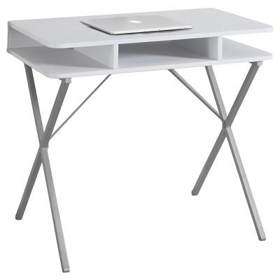 White Top Computer Desk - Silver Metal - EveryRoom