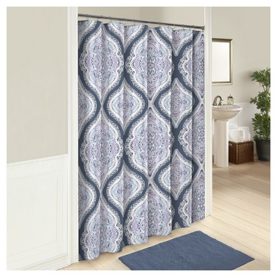 Lotus Shower Curtain Blue - Marble Hill®