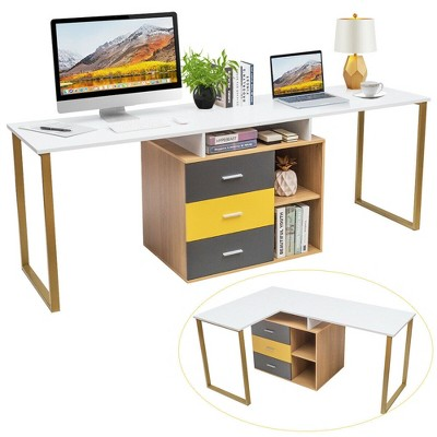 Costway 87'' Two Person Computer Desk Adjustable L-Shaped Office Desk w/Shelves & Drawers