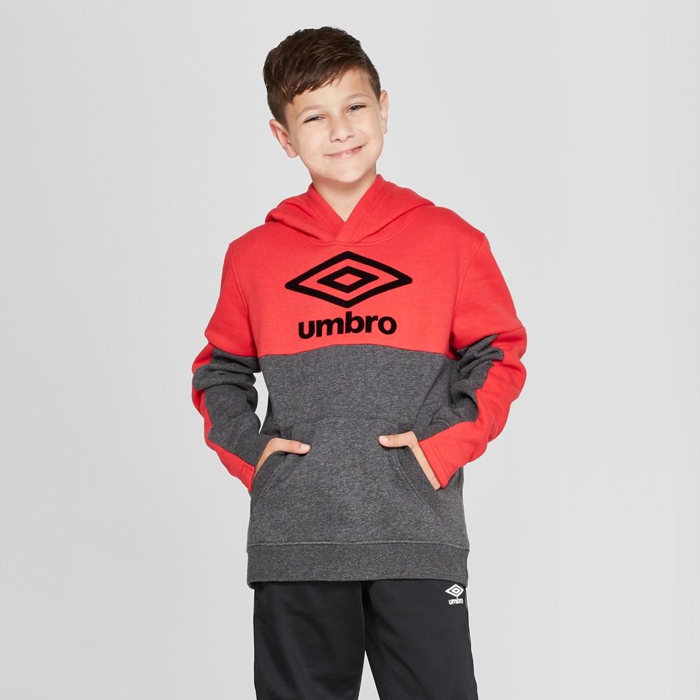 Umbro Boys' Fleece Pullover Hoodie - Dark Grey Heather/Red XL