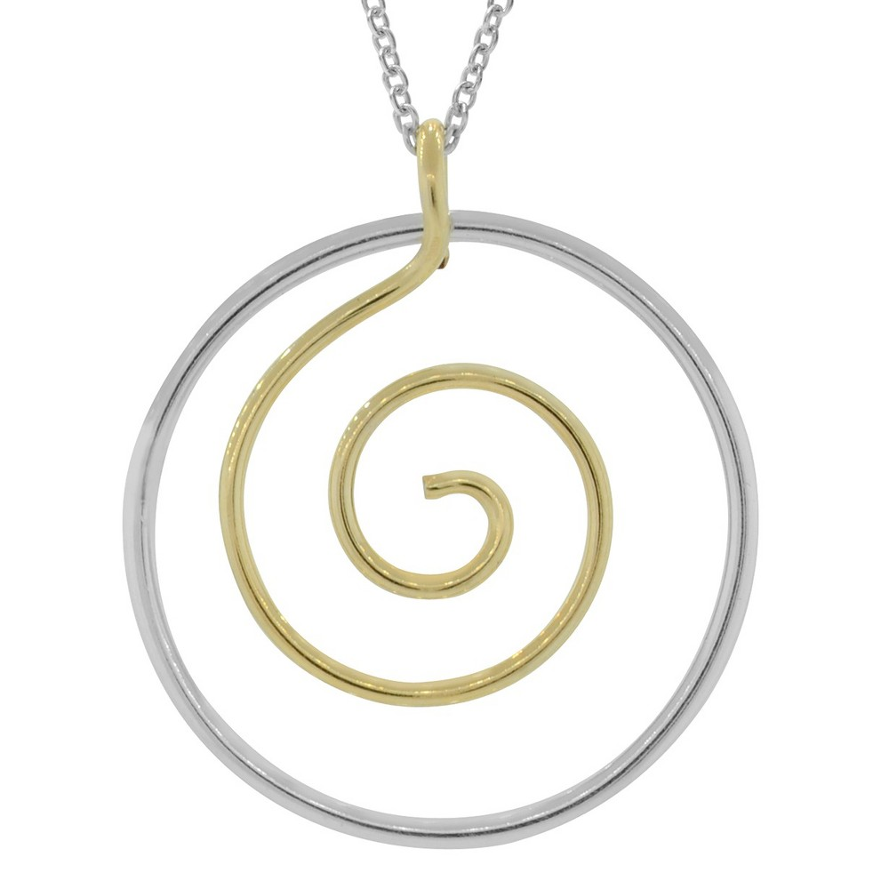 Women's Journee Collection Handmade Circle Pendant Necklace in Sterling Silver - Gold (18)