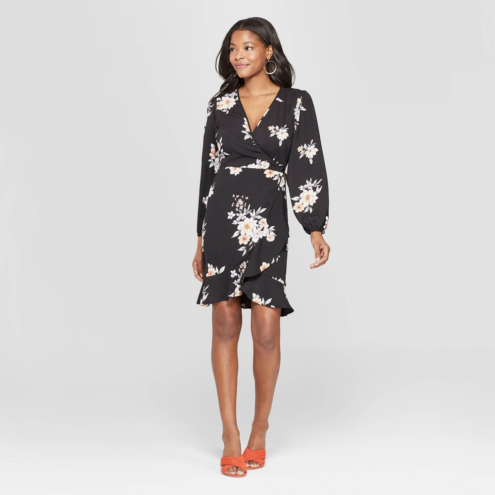 Women's Floral Print Long Sleeve Deep V-Neck Wrap Dress - Xhilaration Black M