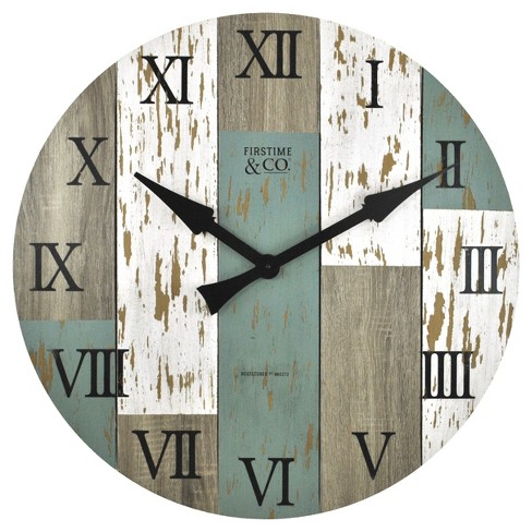 "Timberworks 27"" Round Wall Clock Distressed Wood Finish - FirsTime® - image 1 of 3"